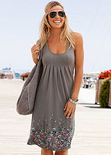 Taupe Floral Beach Dress by Beachtime