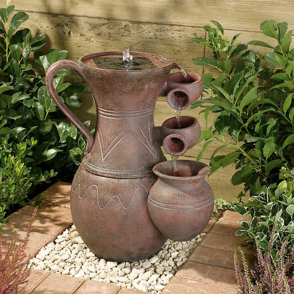 solar powered pitcher cascade fountain garden home